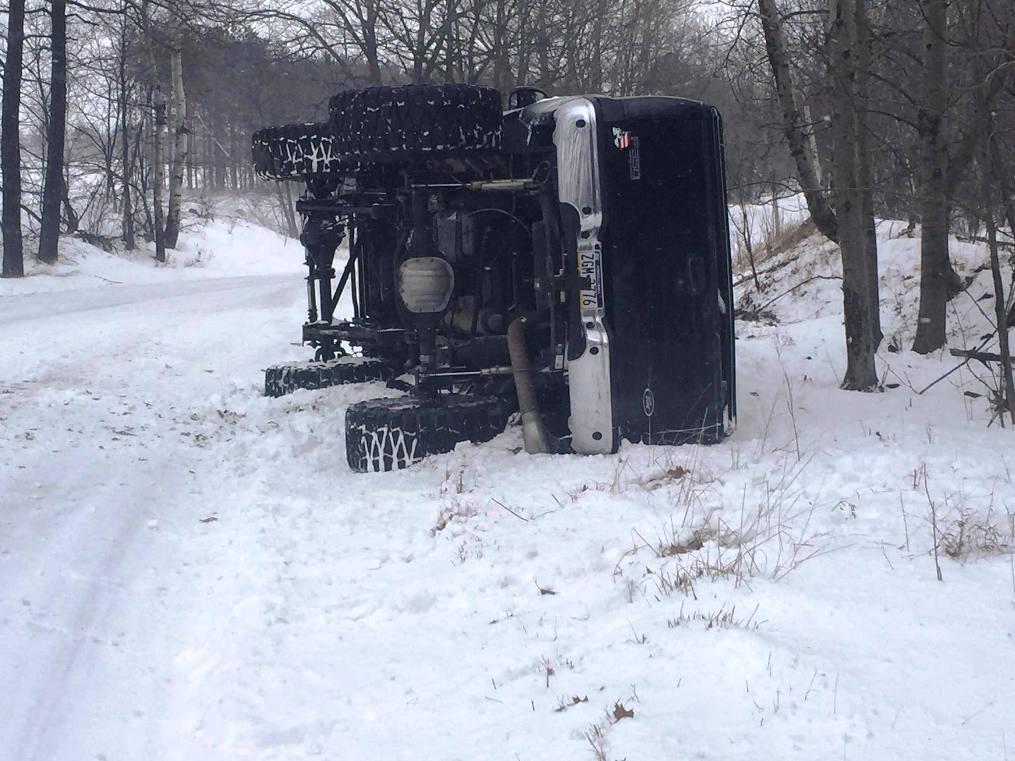 Overturned vehicle on Delano Road
