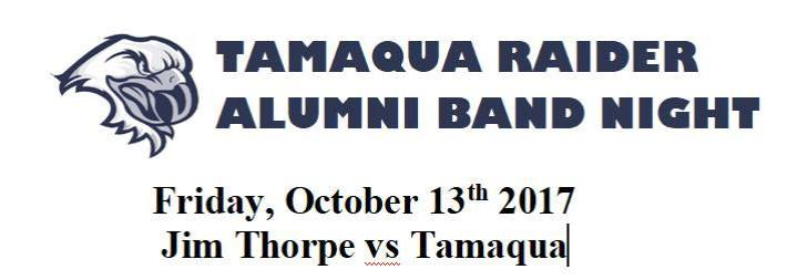 10-13-2017, Tamaqua Raider Alumni Band performs during game, TASD Stadium, Tamaqua