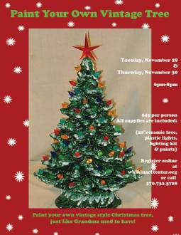 11-28, 30-2017, Paint Your Own Vintage Christmas Tree, at Walk In Art Center, Schuylkill Haven