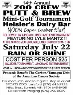 7-22-2017, Zoo Crew Putt & Brew Mini Golf Tournament, Heisler's Dairy Bar, Lewistown Valley, Tamaqua
