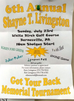 7-23-2017, Shayne Livingston Memorial Golf Tournament, White Birch Golf Course, Barnesville