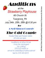 7-24, 25, 26-2017, Auditions for The Odd Couple, at Strawberry Playhouse, Tuscarora
