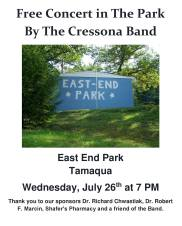 7-26-2017, Cressona Band performs, at East End Park, Tamaqua