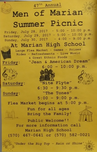 7-28, 29, 30-2017, Men Of Marian Picnic and Flea Market, Marian Catholic High School, Hometown