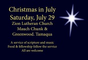 7-29-2017, Christmas In July, Zion Lutheran Church, Tamaqua