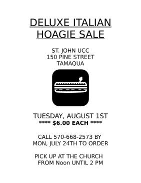 8-1-2017, Deluxe Hoagie Sale, St John UCC, Tamaqua