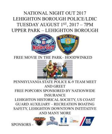 8-1-2017, Lehighton National Night Out, at Upper Park, Lehighton