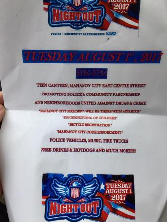 8-1-2017, Mahanoy City National Night Out, Downtown Mahanoy City