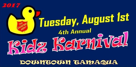 8-1-2017, Tamaqua Salvation Army Kidz Karnival, Railroad Station Parking Lot, North Railroad Street, Tamaqua