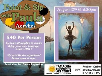 8-10-2017, Paint & Sip with Paula, Ballet Dancer