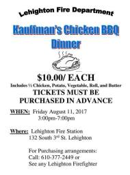 8-11-2017, Chicken BBQ Dinner, (Tickets must be bought in advance), at Lehighton Fire Station, Lehighton