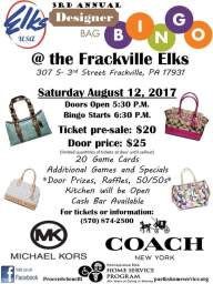 8-12-2017, Designer Bag Bingo, at Frackville Elks Lodge, Frackville