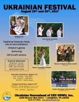 8-19, 20-2017, Ukrainian Festival, at Ukrainian Homestead of CEC ODWU, Lehighton