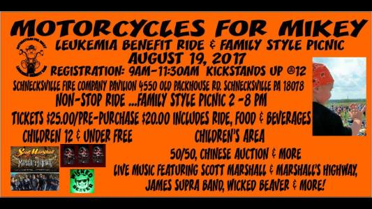 8-19-2017, Motorcycles for Mikey, benefit ride and picnic, at Schnecksville Fire Company, Schnecksville