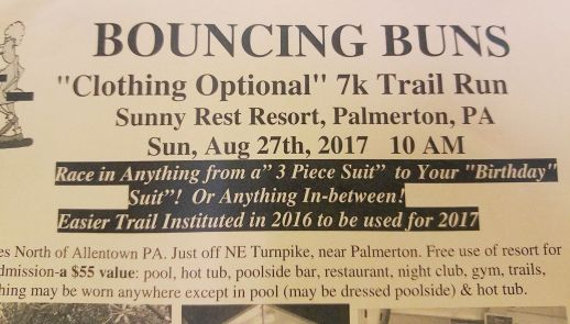 8-27-2017, Bouncing Buns, Clothing Optional, 7K Trail Run, Sunny Rest Resort, Palmerton