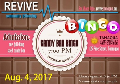 8-4-2017, Candy Bar Bingo, via REVIVE, at Tamaqua Community Arts Center, Tamaqua