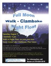 8-5-2017, Clambake, Walk & Night Float, at Sweet Arrow Lake, Pine Grove