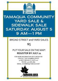 8-5-2017, Tamaqua Community Yard Sale, via Chamber, Downtown Tamaqua, and throughout Tamaqua