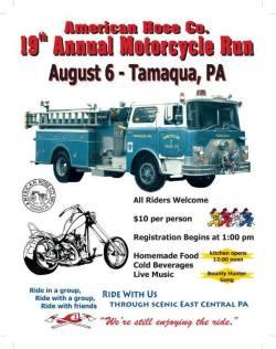 8-6-2017, Motorcycle Run, American Hose Company, Tamaqua
