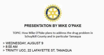 8-9-2017, Presentation by Mike O'Pake, Drug Problem, at Trinity UCC, Tamaqua