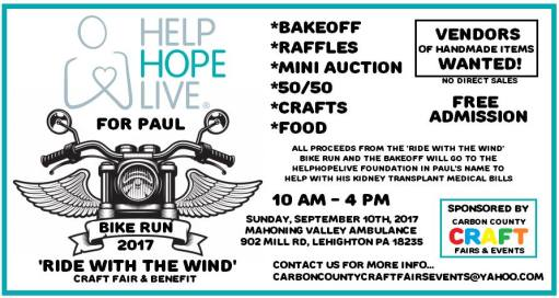9-10-2017, Bike Run, and Ride With The Wind Craft Fair and Benefit, at Mahoning Valley Ambulance, Lehighton