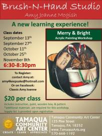 9-13-2017, Brush-N-Hand Merry & Bright, First of Five Classes, at Tamaqua Community Arts Center, Tamaqua