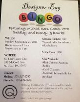9-24-2017, Designer Bag Bingo, at St Clair Lions Club, St Clair