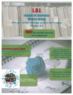 League of Literaries (LOL) Flyer, Community Art Center, Tamaqua