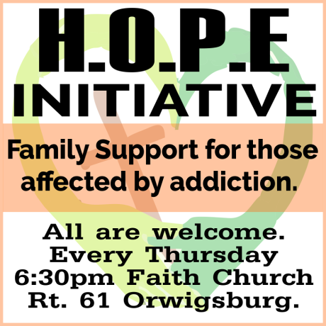 Meet Every Thursday, HOPE Initiative, 6-30 PM, Faith Church, Orwigsburg
