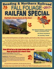 Reading and Northern Railroad Fall Foliage Railfan Special, Tamaqua, Jim Thorpe, 2017