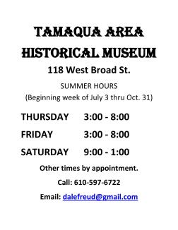 Tamaqua Historical Society Museum Summer Hours